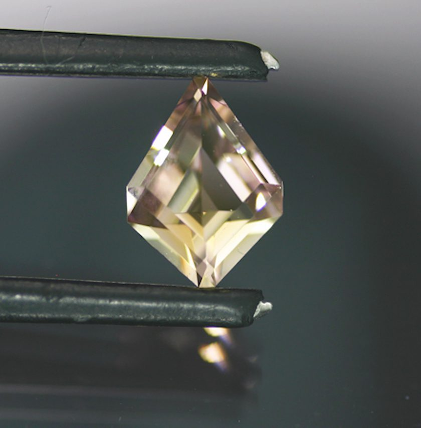 pink-and-yellow shield cut tourmaline - Nigeria