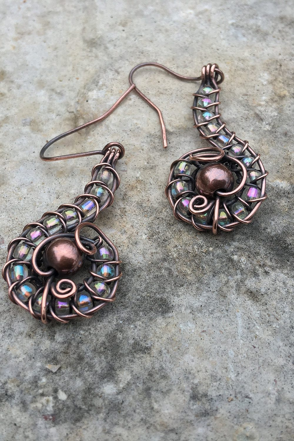 copper earrings with iridescent glass beads - glass gemstones