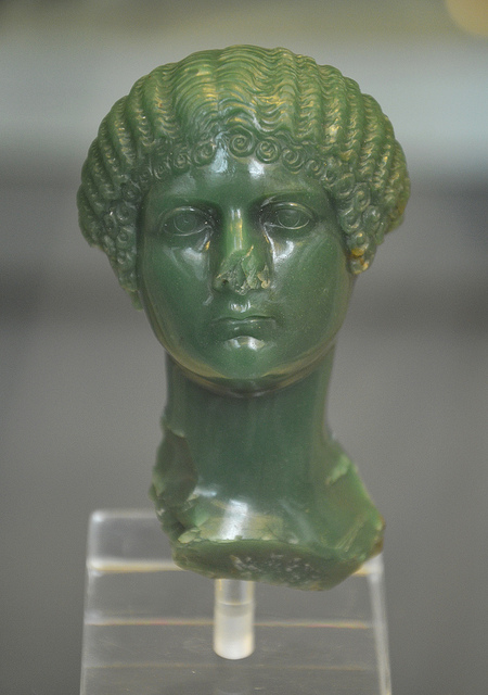 """Green chalcedony portrait bust of Julia Drusilla or Livia Livilla (sisters of Caligula), made about AD 37-39, British Museum"" by Carole Raddato is licensed under CC By-SA 2.0"