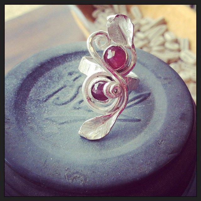 leafy ring - sterling silver and rubies