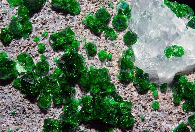 Uvarovite Garnet and Calcite