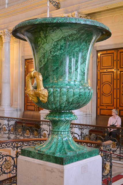 """Malachite vase Yekaterinburg Lapidary Works design by Ivan Hallberg 1841-42"" by Larry Koester is licensed under CC By 2.0"