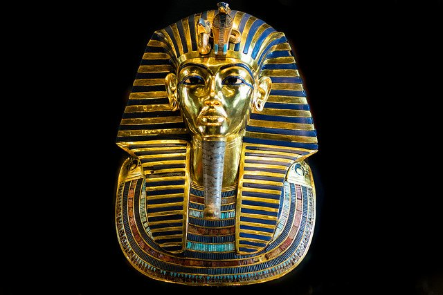 """King Tut Burial Mask,"" (1332–1323 BCE), Egyptian Museum, Cairo, Egypt, by Mark Fischer is licensed under CC By-SA 2.0"
