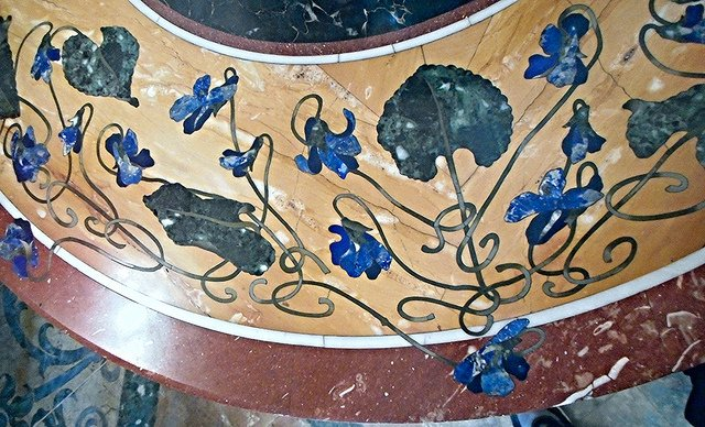 """Liberty table with polychrome marbles and lapis lazuli - Villa Pignatelli Museum in Naples,"" inlay, by * Karl *. Public Domain."
