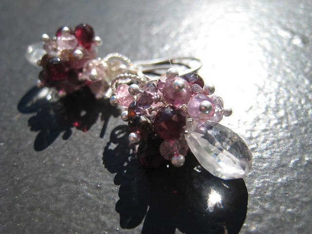 Earrings with Iolite, Garnet, and Spinel