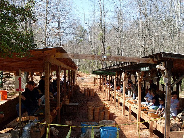 gem sluice, Hiddenite, NC - gem hunting in the US