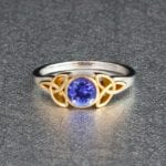 tanzanite - gold Celtic ring