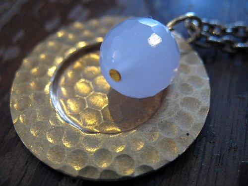 """Order Up,"" faceted chalcedony and brass plate, by bird&monster is licensed under CC By-ND 2.0"