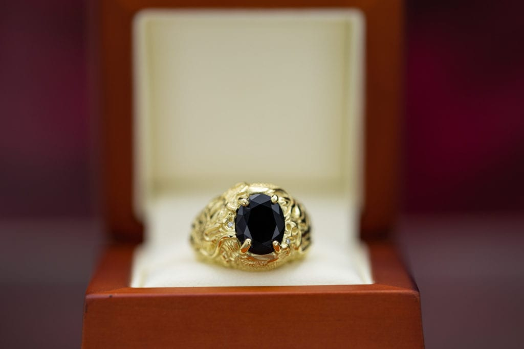 oval-cut black onyx statement ring