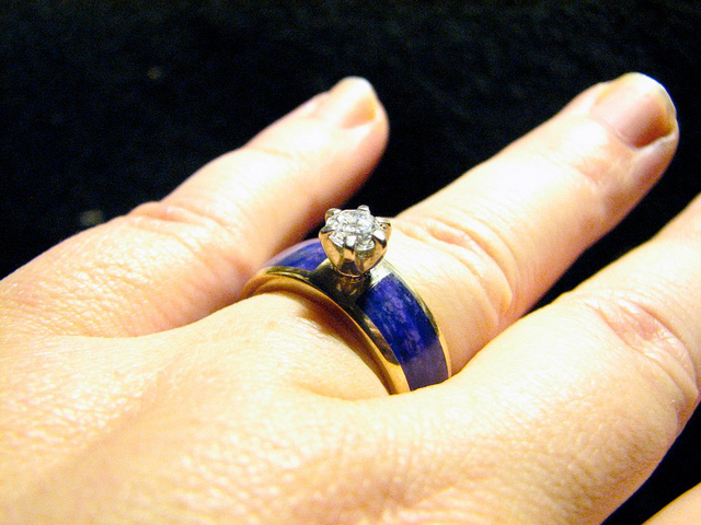 """Custom Cast 14k Gold Diamond Ring w/ Gel Sugilite inlay"" by Jessa and Mark Anderson is licensed under CC By 2.0"