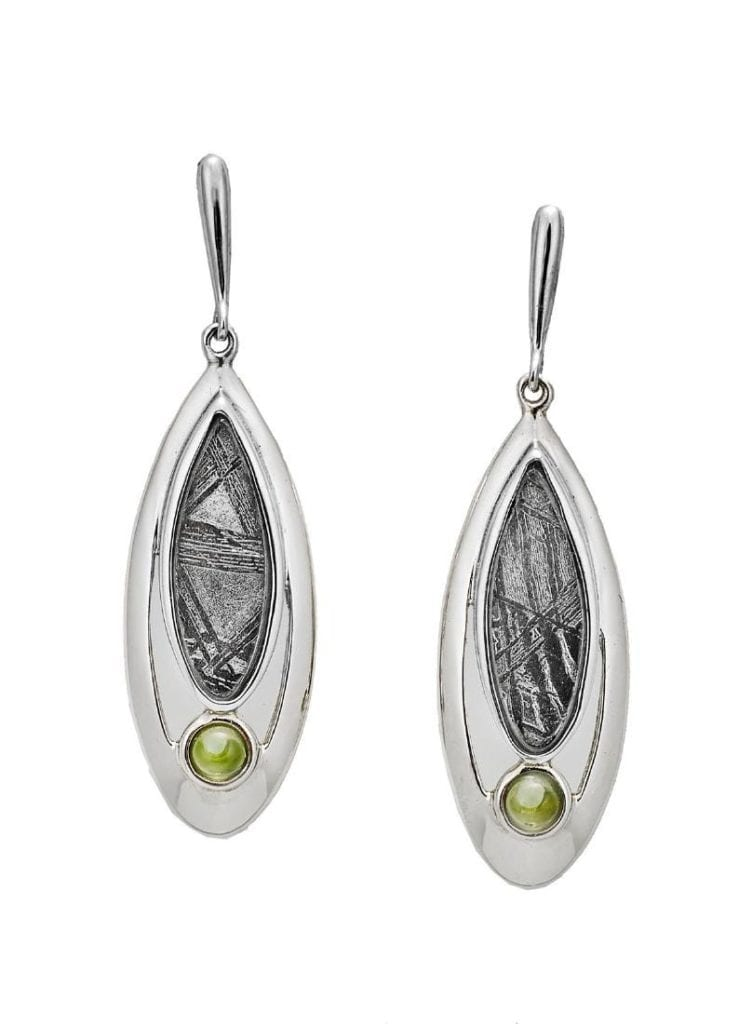 earrings with moldavites and meteorite material