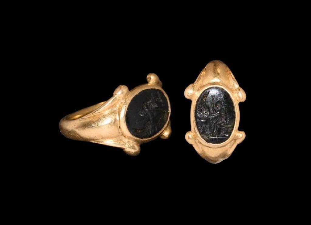 schorl intaglio ring - Roman 3rd Century CE