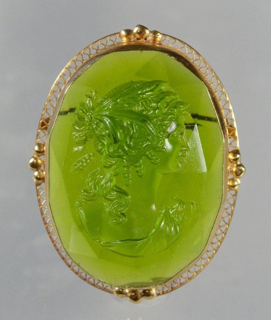 pin with carved and engraved gem
