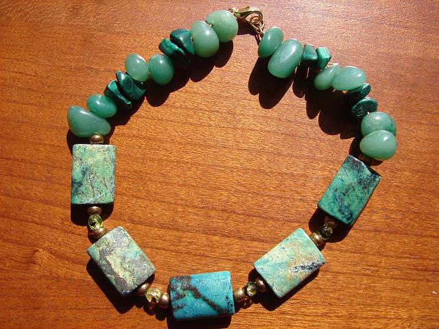 malachite, aventurine, and turquoise - idiochromatic gems