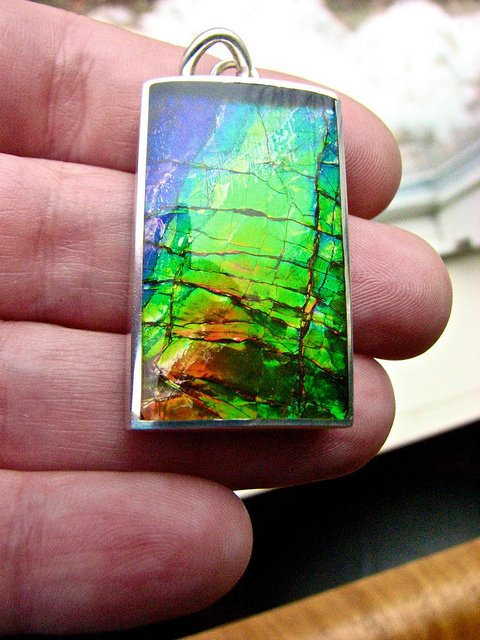 ammolite inlay pendant