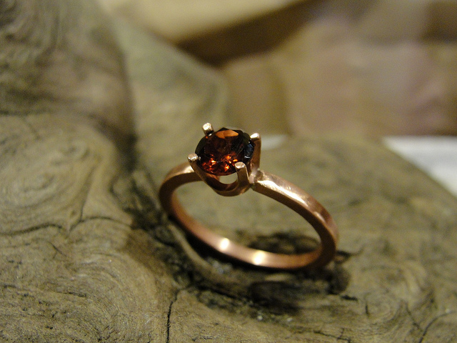 Almandine Garnet and Copper Ring