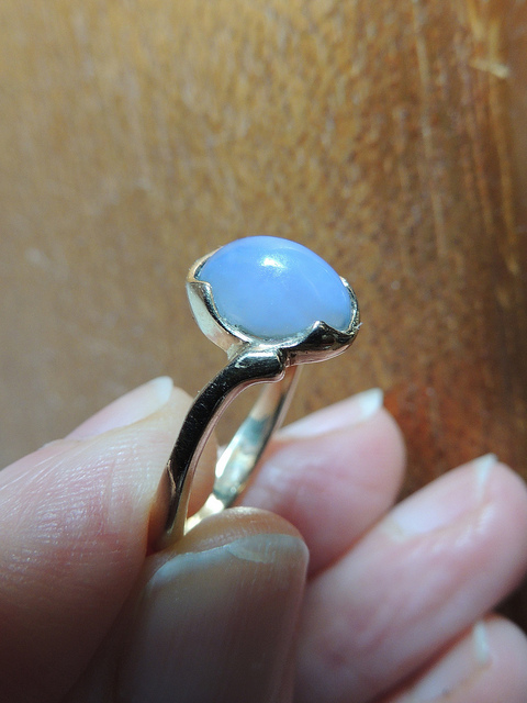 """Pale blue ~ 30 Ellensburg Blue ring,"" blue chalcedony, by Upupa4me is licensed under CC By-SA 2.0"