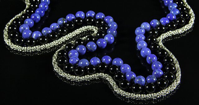 bead and necklace size charts - lapis, onyx, and silver