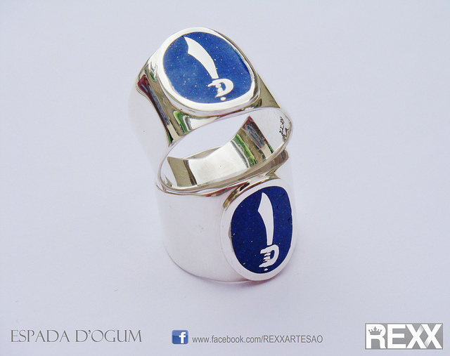 """Anel Espada D'ogum,"" lapis lazuli and 950 silver ring, by Renato Brunelli Graseffe is licensed under CC By 2.0"