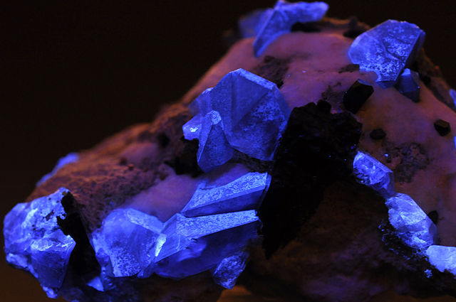 "Extremely rare benitoite has a strong blue fluorescence under UV light. ""Benitoite and neptunite under UV Light"" by Géry Parent. Public Domain."