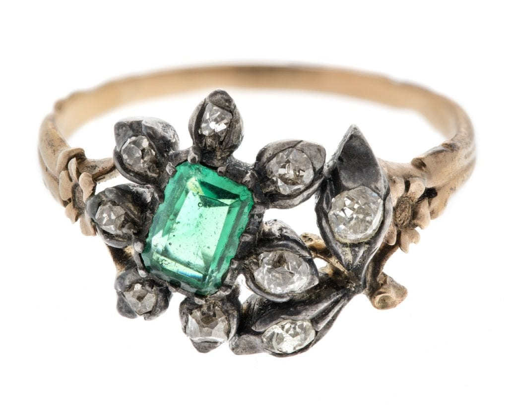 gold ring with table-cut emerald