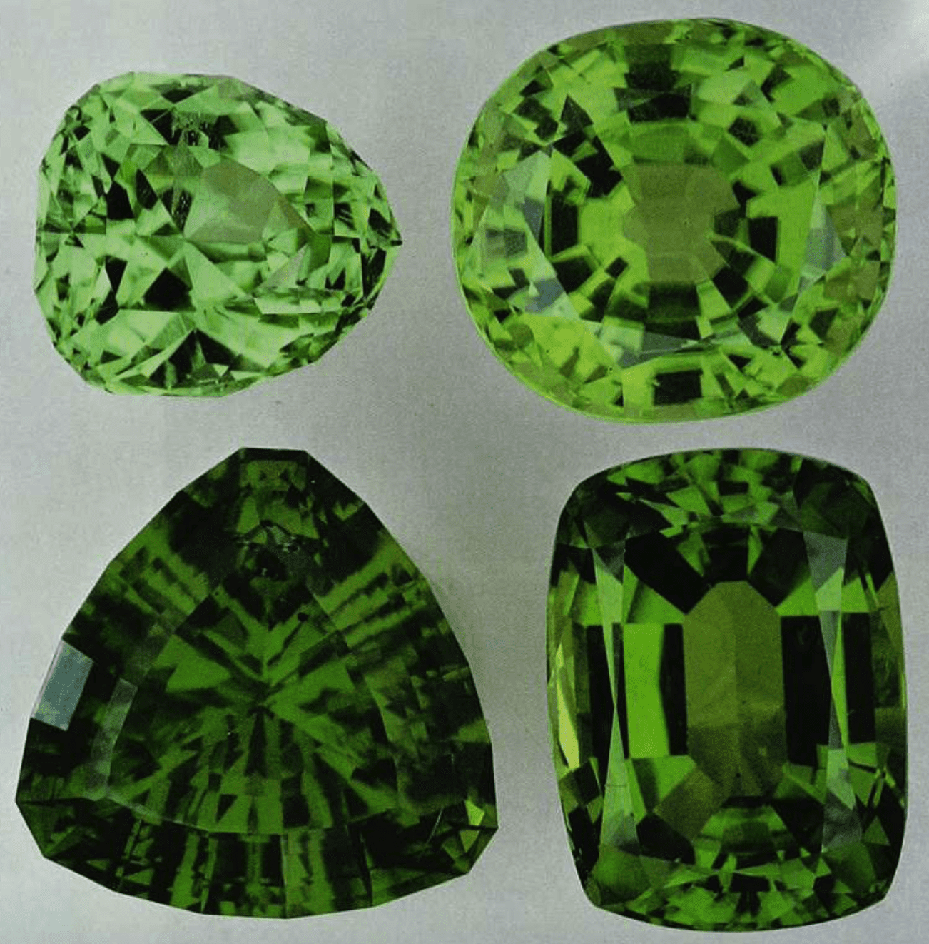 Peridot gems - Norway, Egypt, Arizona