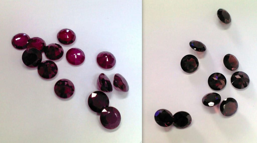 specific gravity testing - rubies and garnets