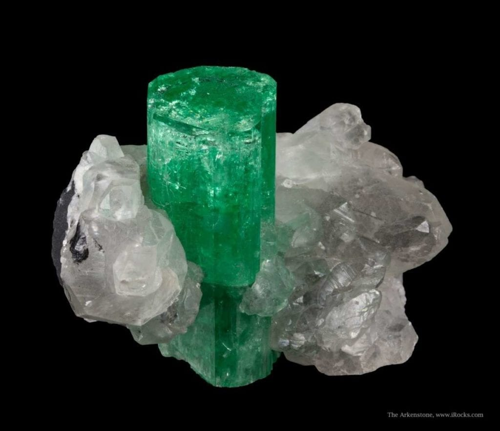 """Emerald on Calcite."" © Rob Lavinsky, www.iRocks.com. Used with permission."