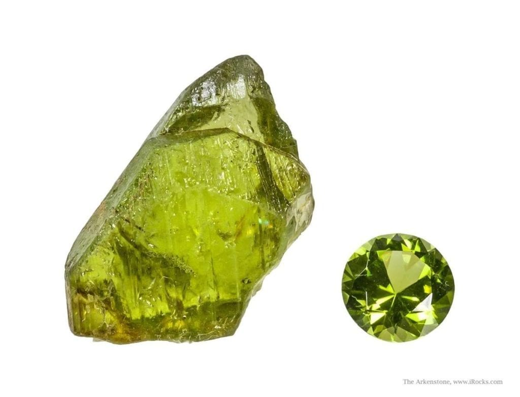 peridot rough and cut - St. John's Island