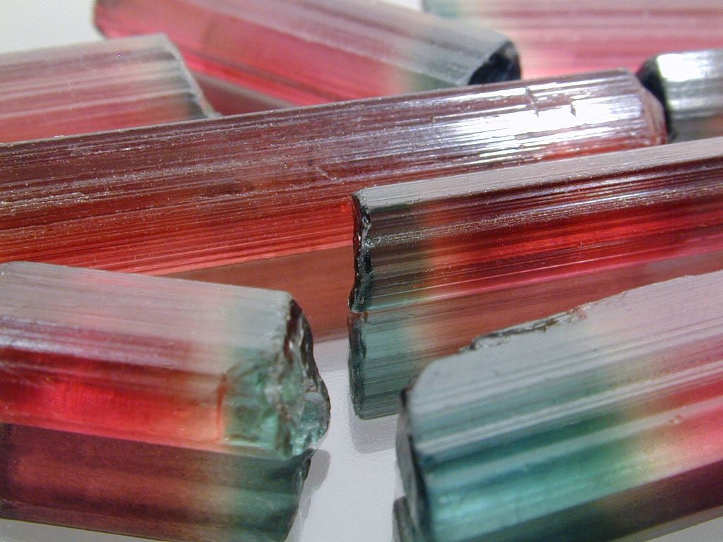 gem rough tri-color tourmalines - Nigeria