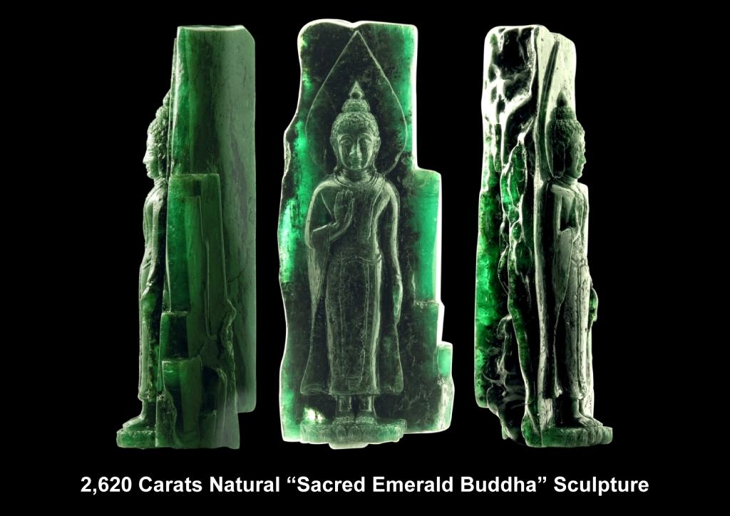 Three views of the Sacred Emerald Buddha