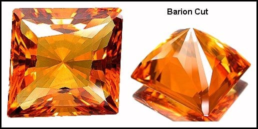 Barion cut with parallelogram outline - gem cutting terms