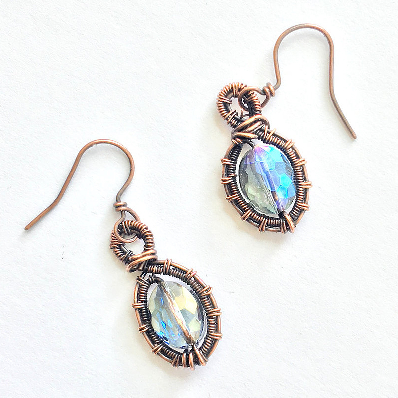 glass and copper earrings - glass gemstones