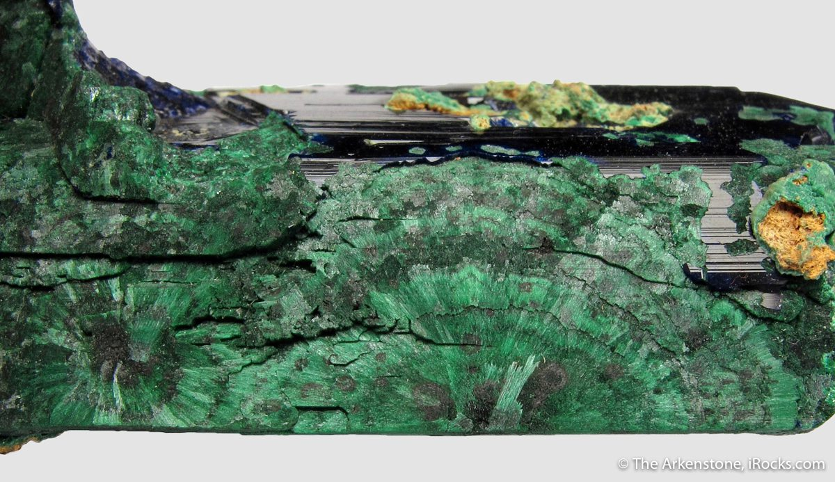 pseudomorph, azurite altering into malachite - gem formation