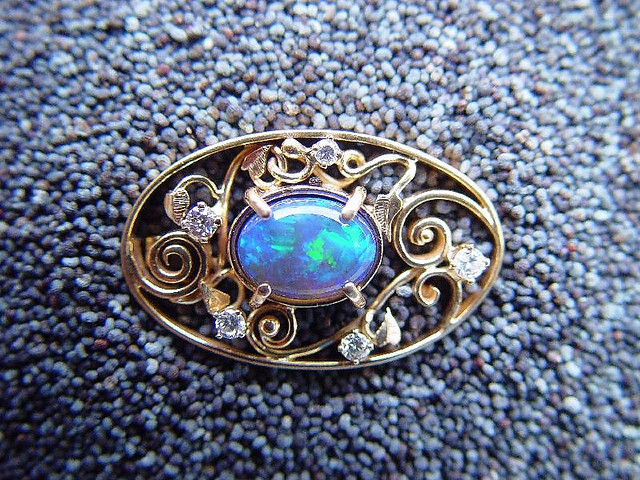 Opal Cabochon Brooch