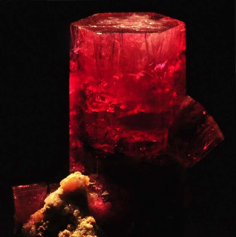 """Red Beryl."" © Rob Lavinsky, www.iRocks.com. Used with permission."