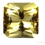 faceted yellow scapolite -emerald cut