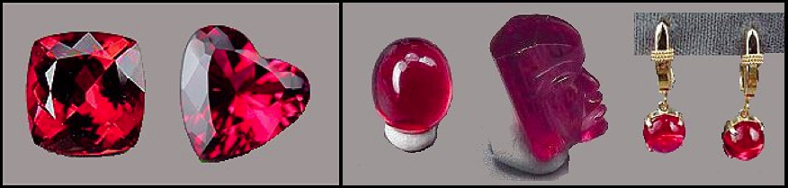 rubellite jewelry and carvings