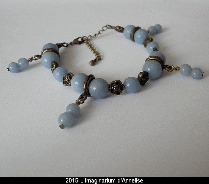 angelite bracelet - anhydrite variety