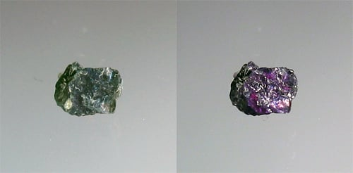 "An alexandrite crystal in daylight (left) and under fluorescent (LW UV) light (right). ""Alexandrite"" by Vzb83 is licensed under CC By-SA 3.0"