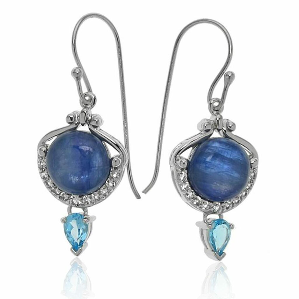 sterling silver earrings with kyanites and topazes