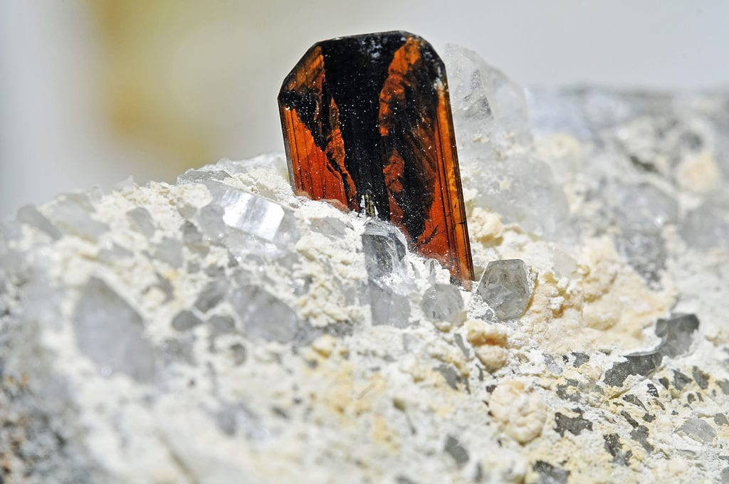 brookite crystal on quartz - Pakistan