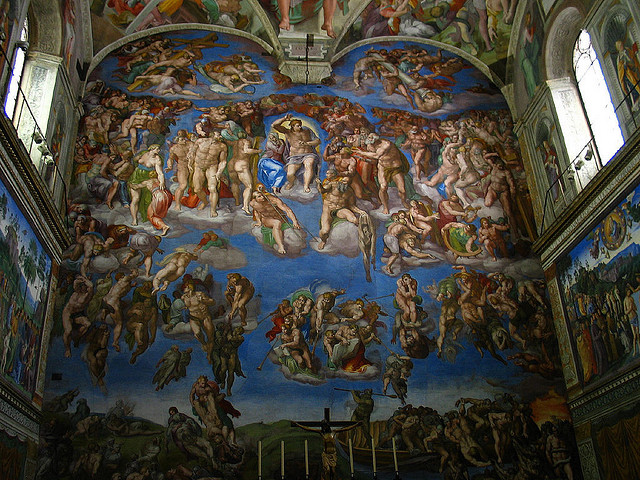 "Michelangelo used lapis lazuli powder for the blue colors in his frescoes for the Sistine Chapel. ""Sistine Chapel"" by Bryan Allison is licensed under CC By-SA 2.0"