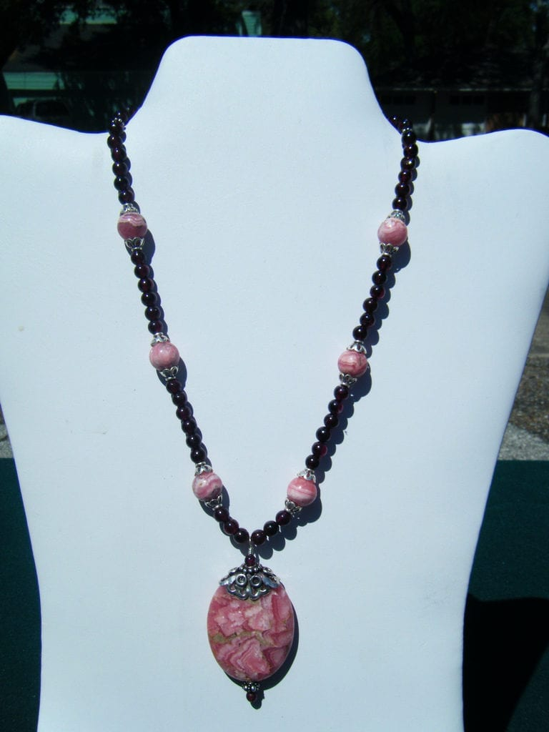 rhodochrosite and garnet necklace