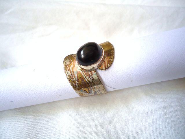 onyx symbolism - mokume gane ring