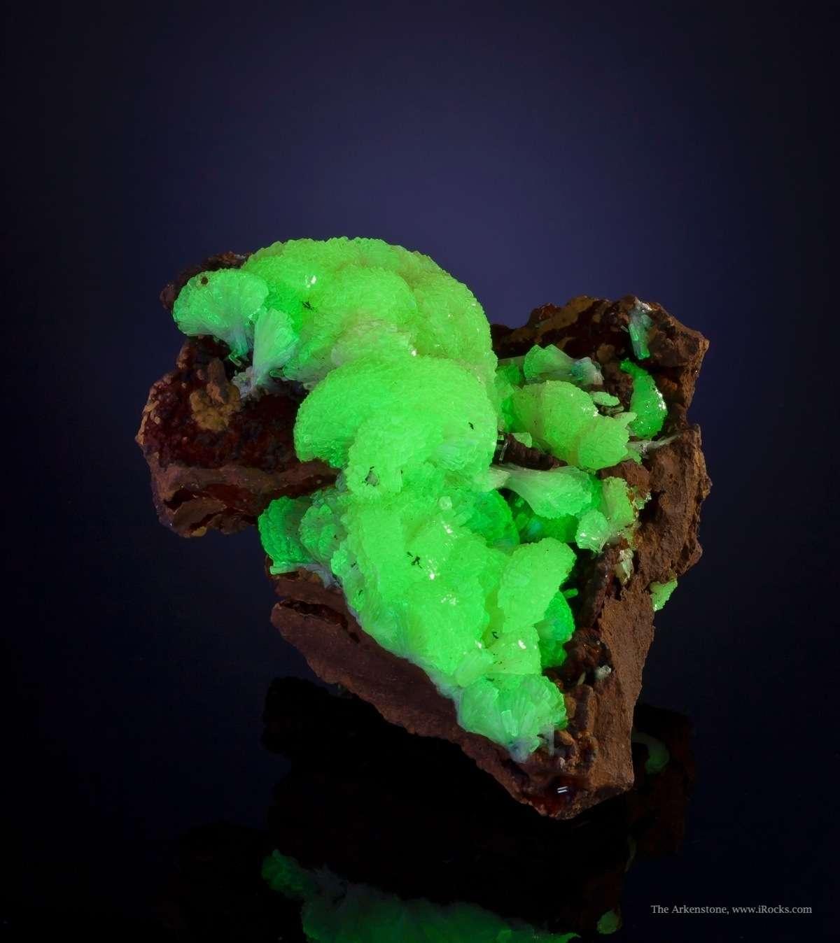 fluorescent adamite crystal - Mapimi, Mexico