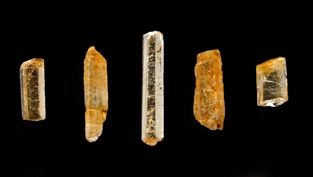 golden jeremejevite crystals - Myanmar