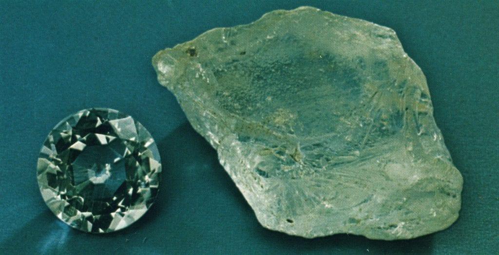 beryllonite rough and cut set - Maine