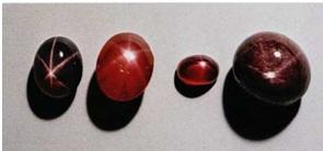 CORUNDUM: Star ruby, Sri Lanka (2.75), Burma (2.6, 0.62), India (8.4