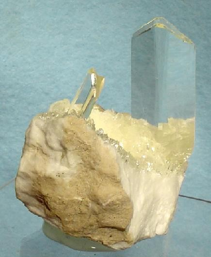 selenite crystals on alabaster - gypsum specimen - Spain